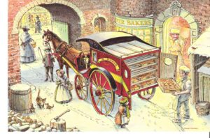 "Card 13 ""A Festive Delivery"" Size: 190mm x 125mm"